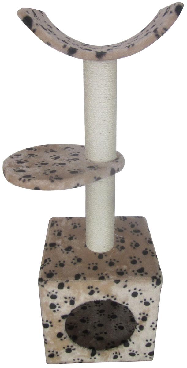Домик-когтеточка Aimigou, 3-ярусный, цвет: бежевый, черный, белый, 30 х 31 х 92 смQQ80308A-1Игровой комплекс Aimigou выполнен из высококачественного ДСП и обтянут искусственным мехом. Изделие предназначено для кошек. Комплекс имеет 3 яруса. Ваш домашний питомец будет с удовольствием точить когти о специальные столбики, изготовленные из сизаля. А отдохнуть он сможет либо на полках, либо в расположенном внизу домике. Игровой комплекс Aimigou принесет пользу не только вашему питомцу, но и вам, так как он сохранит мебель от когтей и шерсти. Поставляется в разобранном виде. Комплектуется инструкцией по сборке. Общий размер: 30 х 31 х 92 см. Размер домика: 30 х 30 х 30 см.