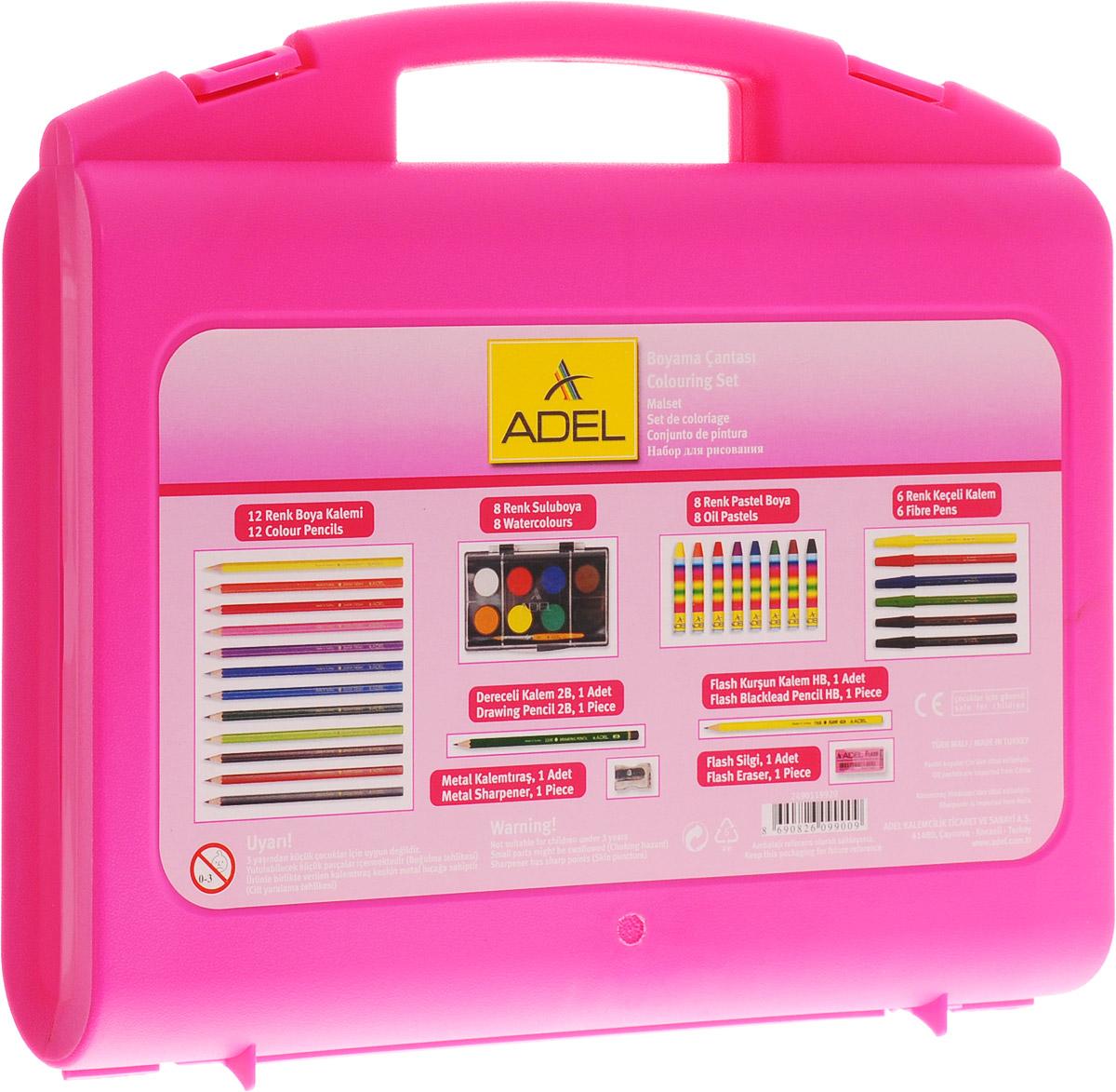 Adel Набор для рисования 38 предметов цвет розовый249-0119-920_розовыйНабор для рисования Adel - прекрасный комплект для юного художника. Все принадлежности хранятся в удобном пластиковом чемоданчике. Разноцветные карандаши, краски, пастельные мелки и фломастеры помогут вашему малышу познакомится с различными художественными стилями и выбрать наиболее понравившийся. Яркие и качественные краски не содержат токсичных веществ, поэтому совершенно безопасны для здоровья вашего ребенка. В комплект также входят ластик и точилка. Не рекомендуется детям до 3-х лет.