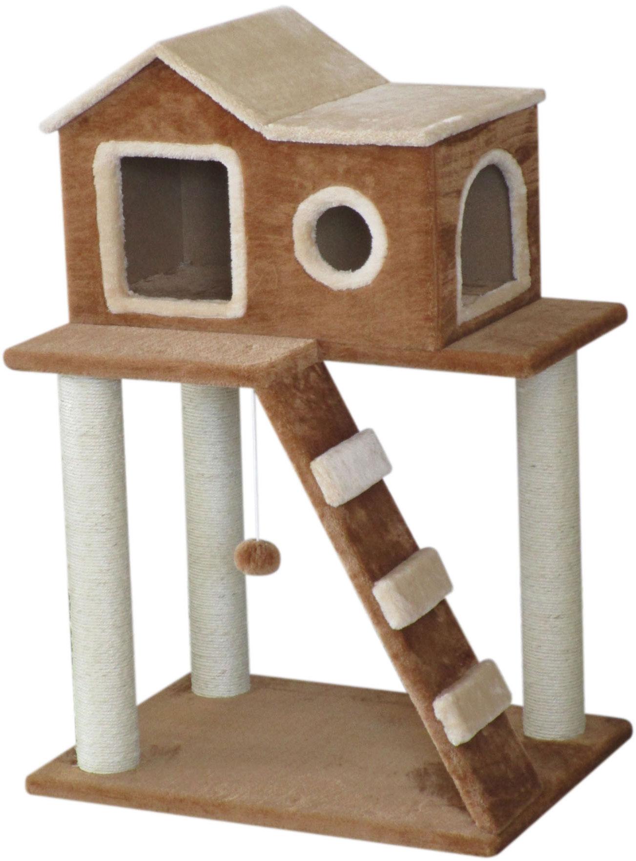 Игровой комплекс для кошек Aimigou, 2-ярусный, цвет: коричневый, бежевый, белый, 45 х 60 х 86 смQQ80862Игровой комплекс Aimigou выполнен из высококачественного ДСП и обтянут искусственным мехом. Изделие предназначено для кошек. Комплекс имеет 2 яруса. Ваш домашний питомец будет с удовольствием точить когти о специальные столбики, изготовленные из сизаля. А отдохнуть он сможет в уютном домике. Игровой комплекс Aimigou принесет пользу не только вашему питомцу, но и вам, так как он сохранит мебель от когтей и шерсти. Поставляется в разобранном виде. Комплектуется инструкцией по сборке. Общий размер: 45 х 60 х 86 см. Размер домика: 30 х 45 х 34 см.