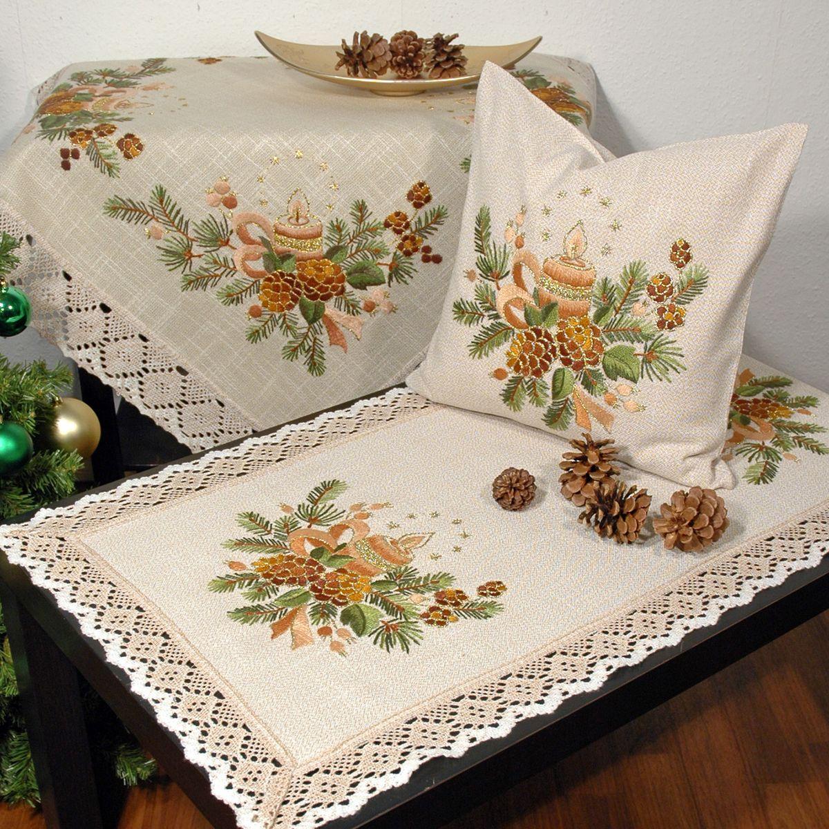 Наволочка декоративная Schaefer, с ручной вышивкой, 40 х 40 см. 6637/3956637/395