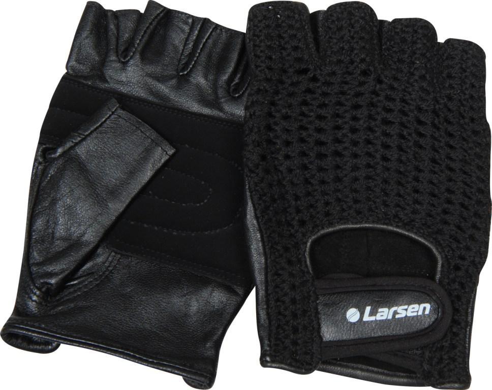 Перчатки для фитнеса Larsen NT503, цвет: черный. Размер S232216Усиление на ладони дополнительной кожаной вставкой: + Удобная застежка «stick» для фиксации на руке: + Тыльная сторона ладони выполнена из сетки: + Материал: натуральная кожа, х/б волокно