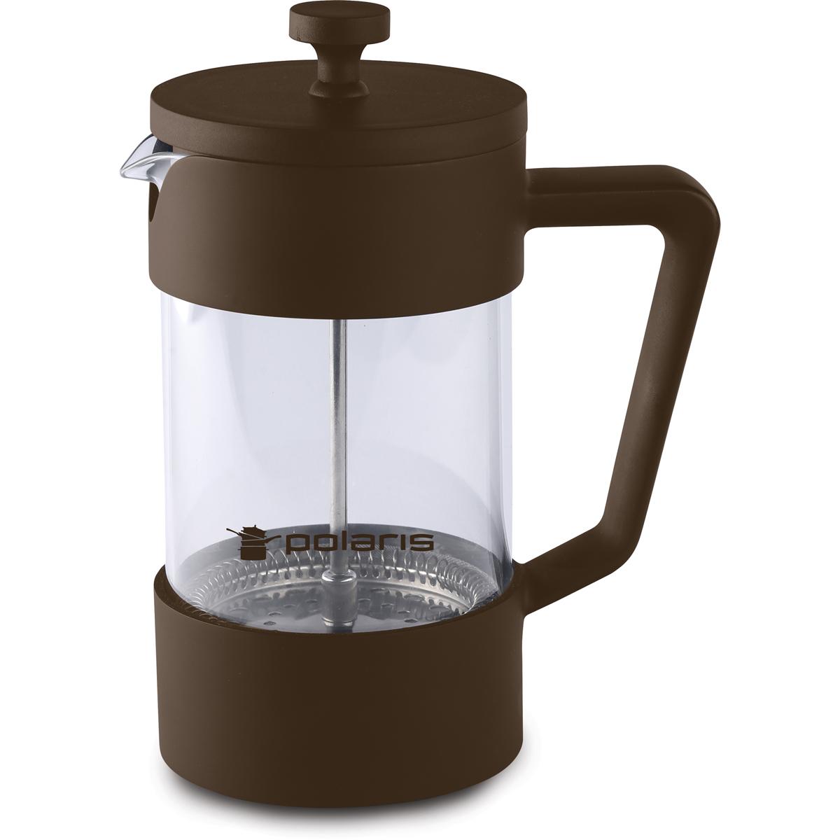 Френч-пресс Polaris Etna-600FP, 600 млEtna-600FPМатериал – высококачественный пластик. Подходит для заваривания кофе и чая. Колба из жаропрочного стекла. Эргономичный поршень с фильтром из нержавеющей стали 18/10