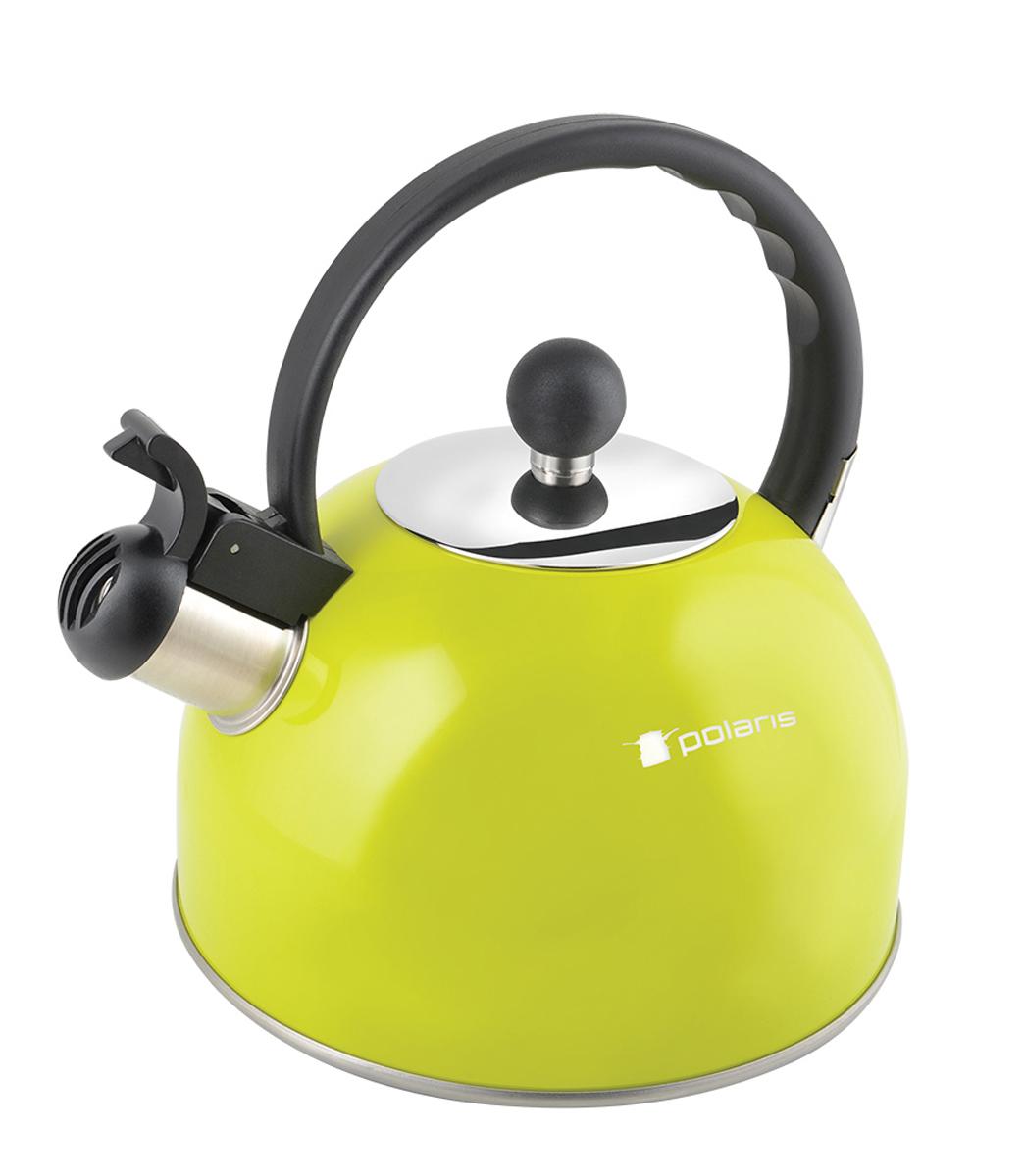 Чайник Polaris Lime-2,2L, со свистком, 2,2 лLime-2,2LВысококачественная нержавеющая сталь 18/10. Свисток на клапане. Эргономичная бакелитовая ручка не нагревается. Внешнее цветное покрытие