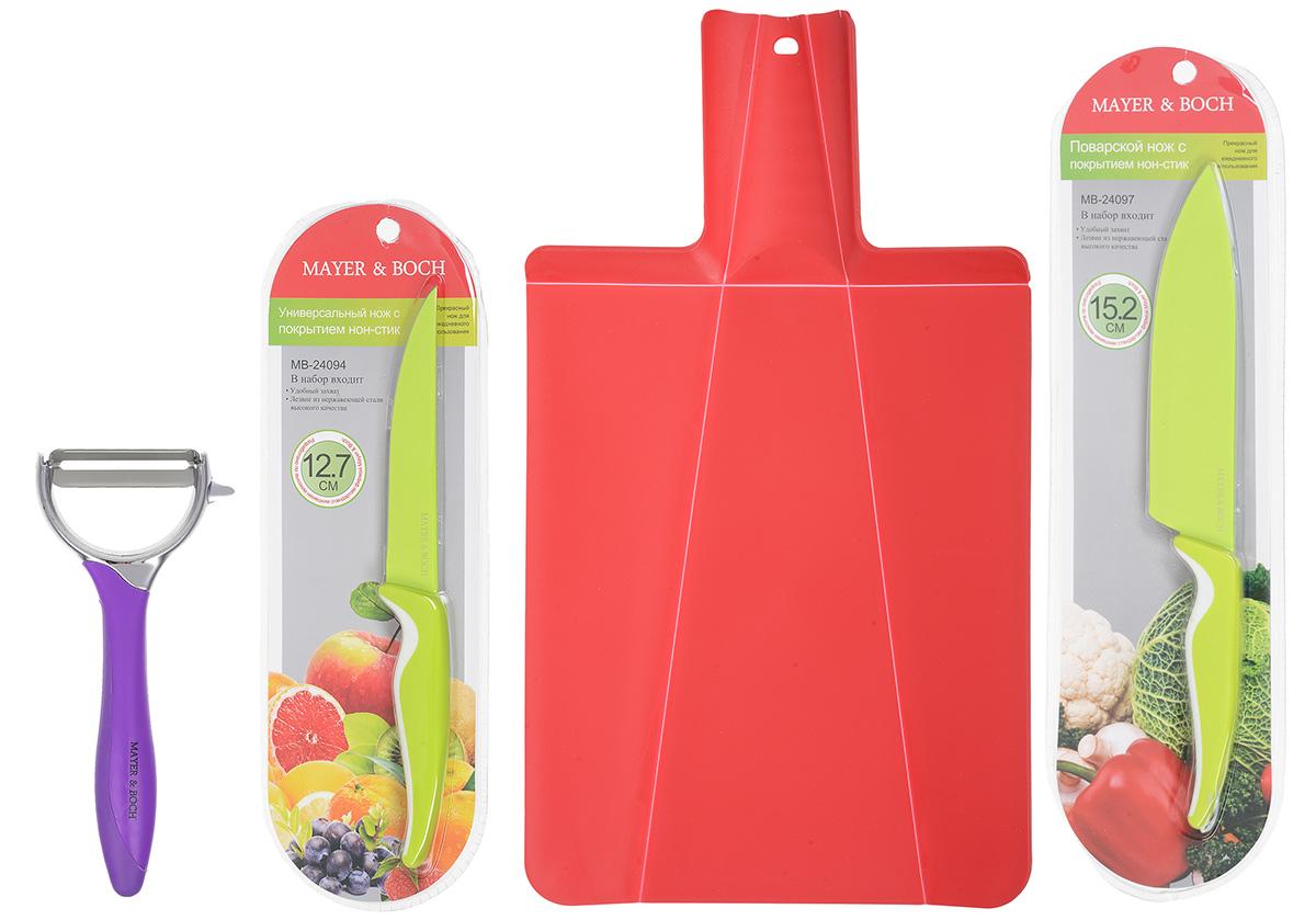 Набор для кухни Mayer & Boch, цвет: красный, салатовый, фиолетовый, 4 предмета24094_красный, салатовый, фиолетовыйНабор для кухни Mayer & Boch включает разделочную доску, поварской нож, универсальный нож и картофелечистку. Складная разделочная доска выполнена из пищевого полипропилена. Трансформация достигается за счет подвижных сгибов материала. Умный дизайн рукоятки позволяет с легкостью складывать, а также разворачивать доску. При сжатии ручки края доски складываются, образуя форму лотка. Это позволяет с легкостью и быстротой переносить нарезанные продукты. Эта доска не помнется, не сломается, не пойдет трещинами, что выгодно отличает ее от деревянных. В набор также входит поварской нож и универсальный нож. Лезвия ножей выполнены из нержавеющей стали с покрытием non-stick, которое предотвращает прилипание продуктов. Рукоятка выполнена из полипропилена и снабжена прорезиненными вставками. Специальный дизайн рукоятки обеспечивает комфортный и легко контролируемый захват. Ножи идеальны для ежедневной резки фруктов, овощей, мяса и других продуктов. ...