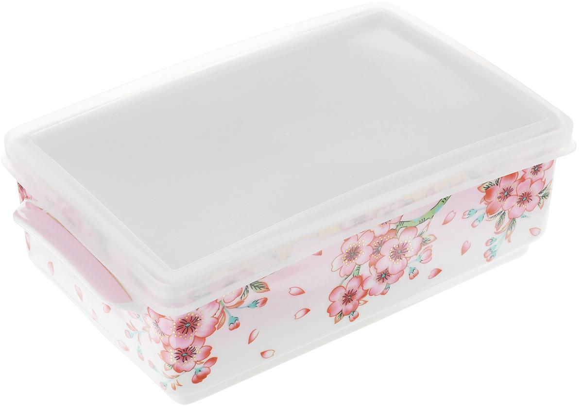 Блюдо для холодца Elan Gallery Сакура, 800 мл504092Блюдо для холодца Elan Gallery Сакура, изготовленное из высококачественной керамики, предназначено для приготовления и хранения заливного или холодца. Пластиковая крышка, входящая в комплект, сохранит свежесть вашего блюда. Также блюдо можно использовать для приготовления и хранения салатов. Оформлено изделие оригинальным рисунком. Такое блюдо украсит сервировку вашего стола и подчеркнет прекрасный вкус хозяйки. Не использовать в микроволновой печи. Размер блюда: 20 х 11,5 х 6 см.