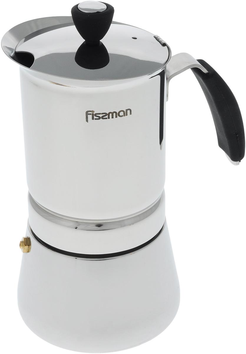Кофеварка гейзерная Fissman, на 6 порций, 365 млEM-9410.6Компактная гейзерная кофеварка Fissman изготовлена из высококачественной нержавеющей стали. Объема кофеварки хватает на 6 порций. Изделие оснащено удобной ручкой из термостойкого пластика. Принцип работы такой гейзерной кофеварки: кофе заваривается путем многократного прохождения горячей воды или пара через слой молотого кофе. Удобство кофеварки в том, что вся кофейная гуща остается во внутренней емкости. Гейзерные кофеварки пользуются большой популярностью благодаря изысканному аромату. Кофе получается крепким и насыщенным. Теперь и дома вы сможете насладиться великолепным эспрессо. Подходит для газовых, индукционных, электрических и стеклокерамических плит. Диаметр кофеварки (по верхнему краю): 9,5 см. Высота (с учетом крышки): 19 см.