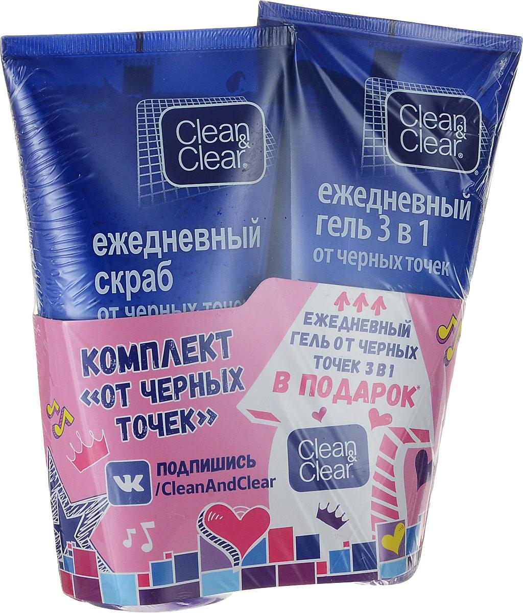 Clean&Clear Ежедневный скраб для лица, от черных точек, 150 мл + Ежедневный гель 3 в 1, от черных точек, 150 мл89605_подарок