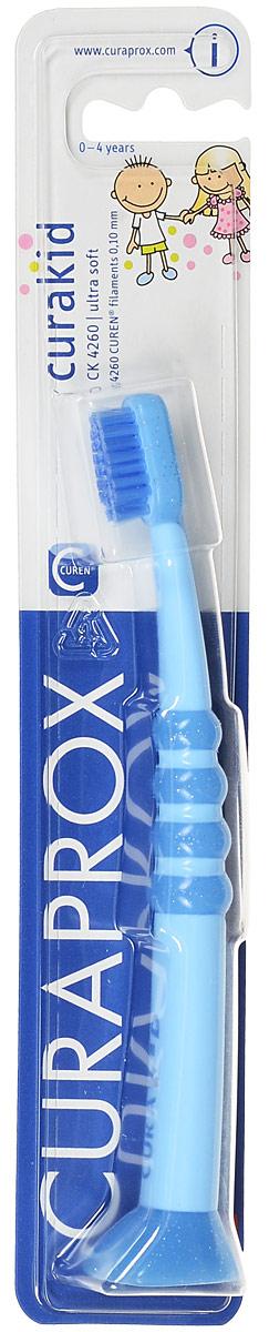 Curaprox CK 4260 Зубная щетка детская Curaprox с гуммированной ручкой цвет: голубой. CK4260CK4260_голубая ручка, голубая щетина