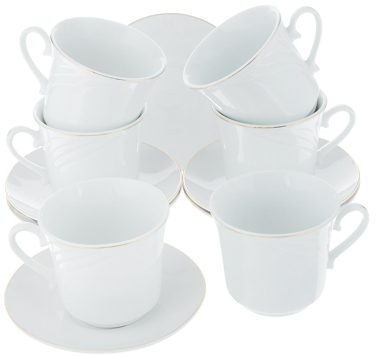 Набор чайный Loraine, 12 предметов. 2561525615Набор имеет красивый нежный дизайн. Состоит из 12 предметов: чашка-6 шт (220 мл) и блюдце-6 шт. Набор изготовлен из качественной керамики. Керамика безопасна для здоровья и надолго сохраняет тепло напитка. Изысканно белый цвет с золотым декором придает набору элегантный вид. Набор аккуратно сложен в подарочную упаковку. Размеры: чашка - D8,5 х7 см, блюдце - D13,5 см. Станет прекрасным украшением сервировки стола, а процесс чаепития превратится в одно удовольствие! Прекрасный выбор для подарка родным и друзьям.