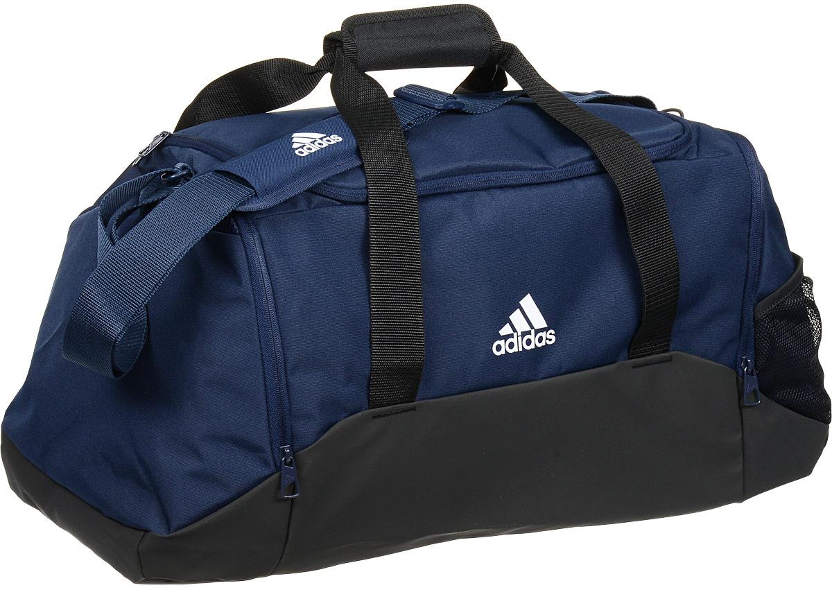 Сумка спортивная Adidas X SB 17.2, цвет: темно-синий, черный. Размер MS99036Стильная спортивная сумка Adidas X SB 17.2 выполнена из полиэстера. Изделие имеет одно отделение, закрывающееся на застежку-молнию. Внутри изделие имеет карман на застежке-молнии. По бокам расположены два кармана на молнии и один сетчатый карман. Сумка оснащена двумя удобными ручками для переноски в руках и регулируемым наплечным ремнем.