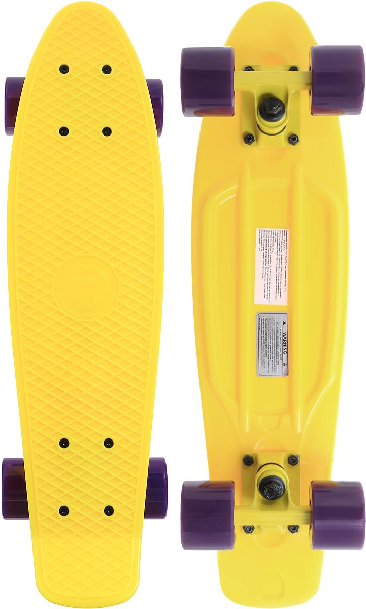 Скейтборд пластиковый Fish, цвет: желтый, сиреневый, дека 56 х 15 смTLS-401_Y_Y_PПенни борд Fish подходит для начинающих райдеров. На нем можно кататься в парках, на улице, на площадках, с горок, вы можете добираться на нем до места работы или учебы. Несмотря на небольшие размеры, пенни развивает большую скорость и отлично лавирует. Доска имеет небольшую длину и маленький вес, поэтому ее можно убрать в рюкзак или сумку или нести в руках. Дека выполнена из высококачественного прочного пластика. Специальный выпуклый рисунок в виде сетки предотвращает скольжение ноги по ее поверхности. Подвеска выполнена из прочного алюминия. Полиуретановые колеса обеспечивают хорошее сцепление с поверхностью, быстрый разгон и торможение. Максимальная нагрузка: 100 кг. Диаметр колеса: 6 см. Ширина колеса: 4,5 см.