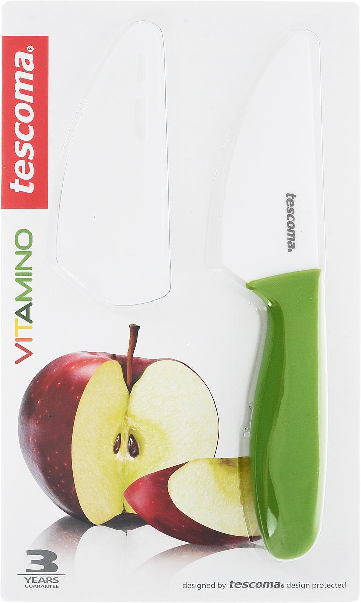 Нож для овощей и фруктов Tescoma Vitamino, керамический, с чехлом, цвет: зеленый, длина лезвия 9 см642720Нож Tescoma Vitamino идеально подходит для нарезки овощей, фруктов и других продуктов. Лезвие ножа изготовлено из высококачественной керамики. Керамическое лезвие при надлежащем обращении длительное время сохраняет свою остроту и редко нуждается в заточке. Эргономичная ручка, выполненная из пластика, не скользит в руках и делает резку удобной и безопасной. Процесс резки происходит плавно и легко. Нож не оставляет после себя запаха и послевкусия, что позволяет полностью сохранить свежесть продуктов. Такой нож станет незаменимым помощником на вашей кухне и займет достойное место среди кухонных аксессуаров. Общая длина ножа: 20 см. Длина лезвия: 9 см. Можно мыть в посудомоечной машине.