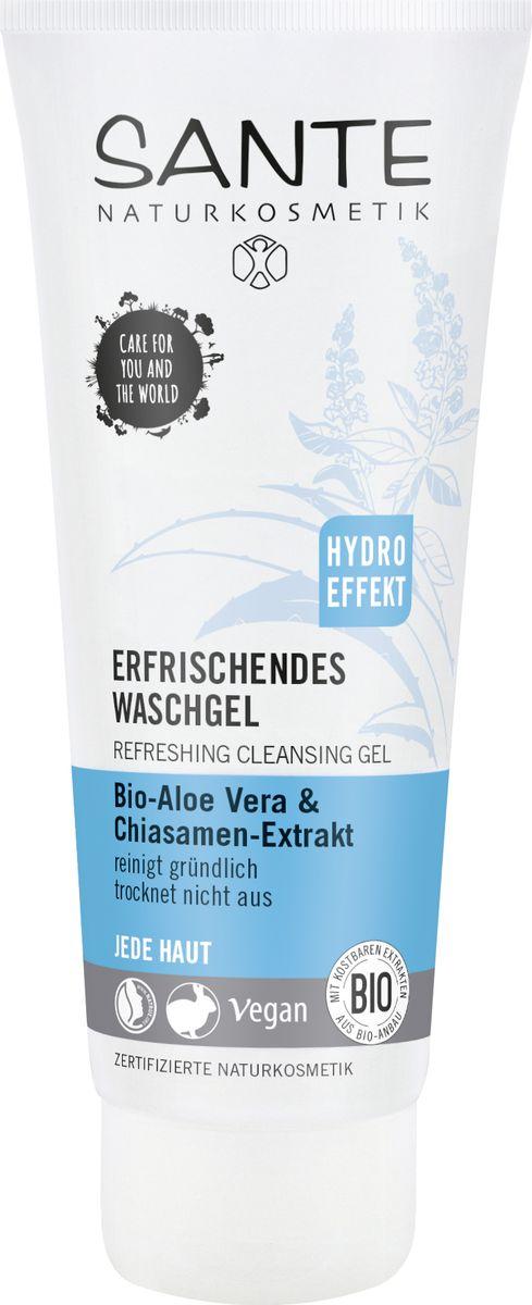 Sante Освежающий очищающий гель для любого типа кожи с Био- Алоэ и Био экстрактом семян Чиа, 100 гр44082100% Натуральный сертифицированный очищающий гель для лица подходит для всех типов кожи. Содержит только мягкие растительные моющие ингредиенты, поэтому нежно очищает кожу, не пересушивая ее. Натуральный Бетаин- производное из сахарной свеклы и природный глицерин активно увлажняют кожу. Сок алоэ и масло семян чиа успокаивают и оздоравливают кожу.