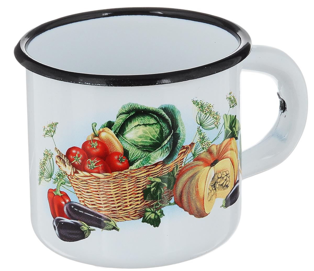 Кружка эмалированная СтальЭмаль Овощи, 250 мл1с1с_белый, красный, зеленыйКружка СтальЭмаль Овощи изготовлена из высококачественной стали с эмалированным покрытием. Она оснащена удобной ручкой и украшена ярким рисунком. Такая кружка не требует особого ухода, и ее легко мыть. Изделие прекрасно подходит для подогрева молока и многого другого. Благодаря классическому дизайну и удобству в использовании кружка займет достойное место на вашей кухне. Диаметр кружки (по верхнему краю): 7,5 см. Высота кружки: 7 см.