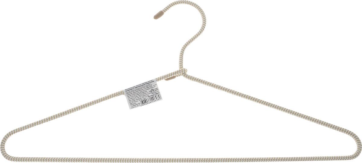 Вешалка для одежды HomeQueen, металлическая, с текстильным покрытием, цвет: бежевый, длина 40,5 см70698Вешалка для одежды HomeQueen изготовлена из металла с текстильным покрытием, снабжена закругленными плечиками. Вешалка - незаменимая вещь для аккуратного хранения одежды. Размер вешалки: 40,5 х 0,7 х 20 см.