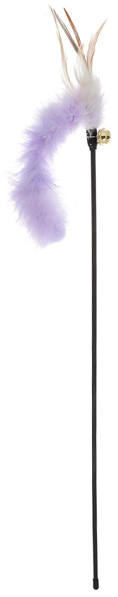 """Игрушка для кошек V.I.Pet """"Дразнилка"""", с колокольчиком, цвет: черный, сиреневый, бежевый, длина 61 см. 30-0952 30-0952_черный,сиреневый"""