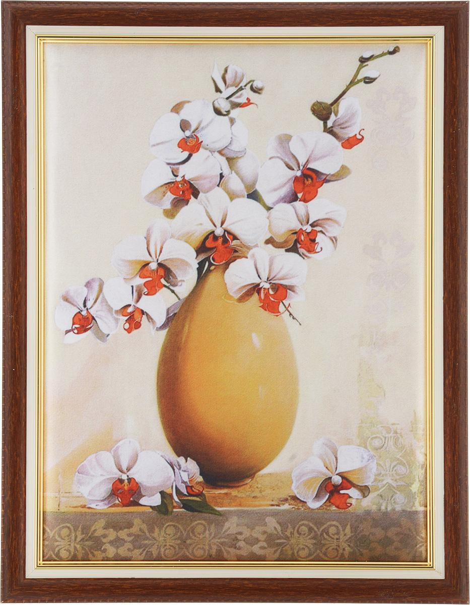 Картина в раме Рапира Орхидеи, 33 х 44 см. 244/2244/2Оригинальная картина Рапира Орхидеи поможет украсить интерьер, придаст обстановке безмятежность и шик. Рисунок картины выполнен на гладком текстиле. Изделие оформлено в красивую рамку под дерево. Задняя часть картины оснащена двумя петельками для подвешивания. Картина Орхидеи идеально подойдет к любому интерьеру и станет отличным подарком. Размер картины (без учета рамки): 27,5 х 37,5 см.