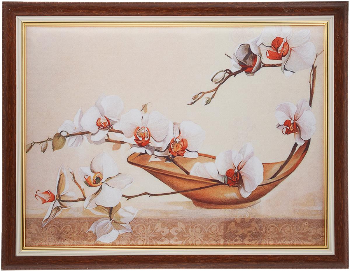 Картина в раме Рапира Орхидеи, 44 х 33 см. 244/3244/3Оригинальная картина Рапира Орхидеи поможет украсить интерьер, придаст обстановке безмятежность и шик. Рисунок картины выполнен на гладком текстиле. Изделие оформлено в красивую рамку под дерево. Задняя часть картины оснащена двумя петельками для подвешивания. Картина Орхидеи идеально подойдет к любому интерьеру и станет отличным подарком. Размер картины (без учета рамки): 37,5 х 27,5 см.