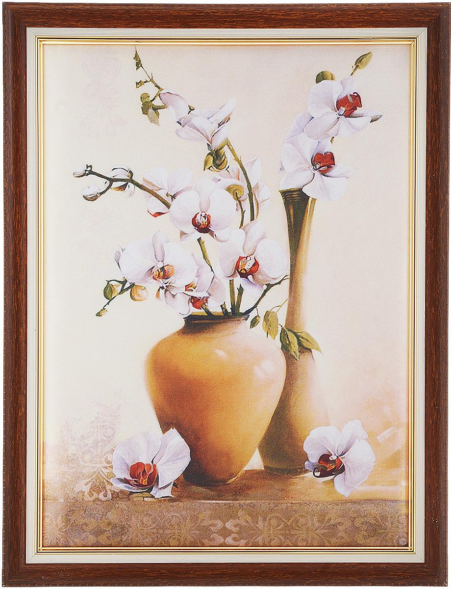 Картина в раме Рапира Орхидеи, 33 х 44 см. 244244Оригинальная картина Рапира Орхидеи поможет украсить интерьер, придаст обстановке безмятежность и шик. Рисунок картины выполнен на гладком текстиле. Изделие оформлено в красивую рамку под дерево. Задняя часть картины оснащена двумя петельками для подвешивания. Картина Орхидеи идеально подойдет к любому интерьеру и станет отличным подарком. Размер картины (без учета рамки): 27,5 х 37,5 см.