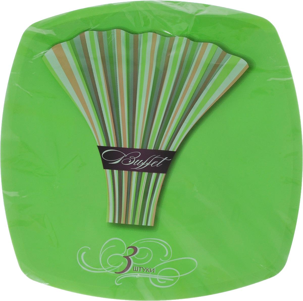 Набор одноразовых тарелок Buffet, цвет: зеленый, 30 х 30 см, 3 шт183207/_зеленыйНабор Buffet состоит из трех тарелок. Изделия, изготовленные из высококачественной полипропилена, сочетают в себе изысканный дизайн с максимальной функциональностью. Тарелки предназначены для холодных и горячих (до +70°С) продуктов. Такие тарелки незаменимы в поездках на природу и на пикниках. Размер тарелки: 30 х 30 см. Высота стенки: 1 см.