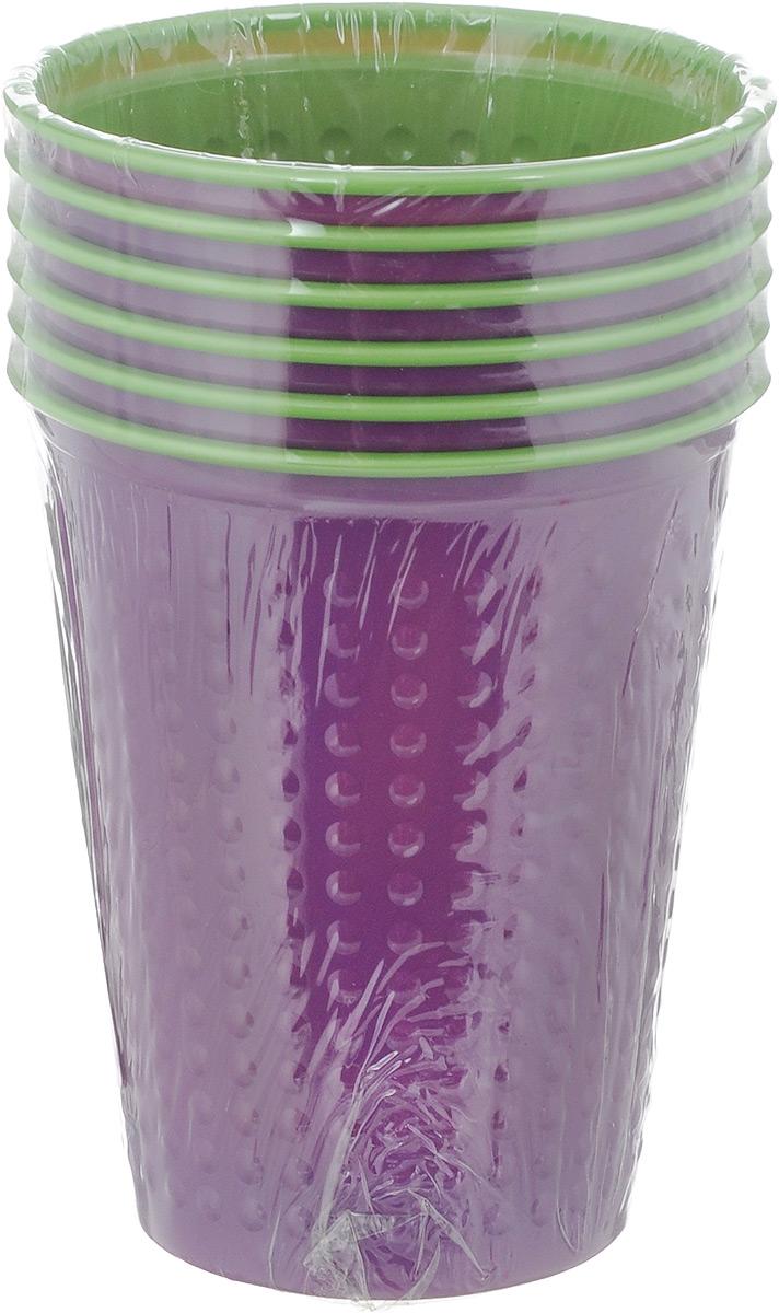 """Набор одноразовых стаканов Buffet """"Biсolor"""", цвет: фиолетовый, зеленый, 200 мл, 6 шт. 181105"""