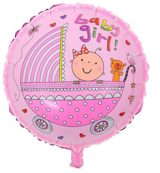 Sima-land Воздушный шарик Малыши в коляске Круг 18 цвет розовый 333633
