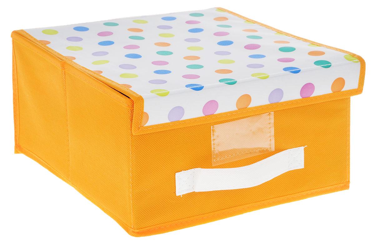 Чехол-коробка Cosatto Viola! Кидс, цвет: оранжевый, белый, 30 х 30 х 16 смCOVLSCBY11K_оранжевый, белыйЧехол-коробка Cosatto Viola! Кидс поможет легко и красиво организовать пространство в детской комнате. Изделие выполнено из полиэстера и нетканого материала, прочность каркаса обеспечивается наличием внутри плотных и толстых листов картона. Чехол-коробка закрывается крышкой на две липучки, что поможет защитить вещи от пыли и грязи. Сбоку имеется ручка. Такой чехол идеально подойдет для хранения игрушек и детских вещей. Яркий дизайн изделия привлечет внимание ребенка и вызовет у него желание самостоятельно убирать игрушки. Складная конструкция обеспечивает компактное хранение.
