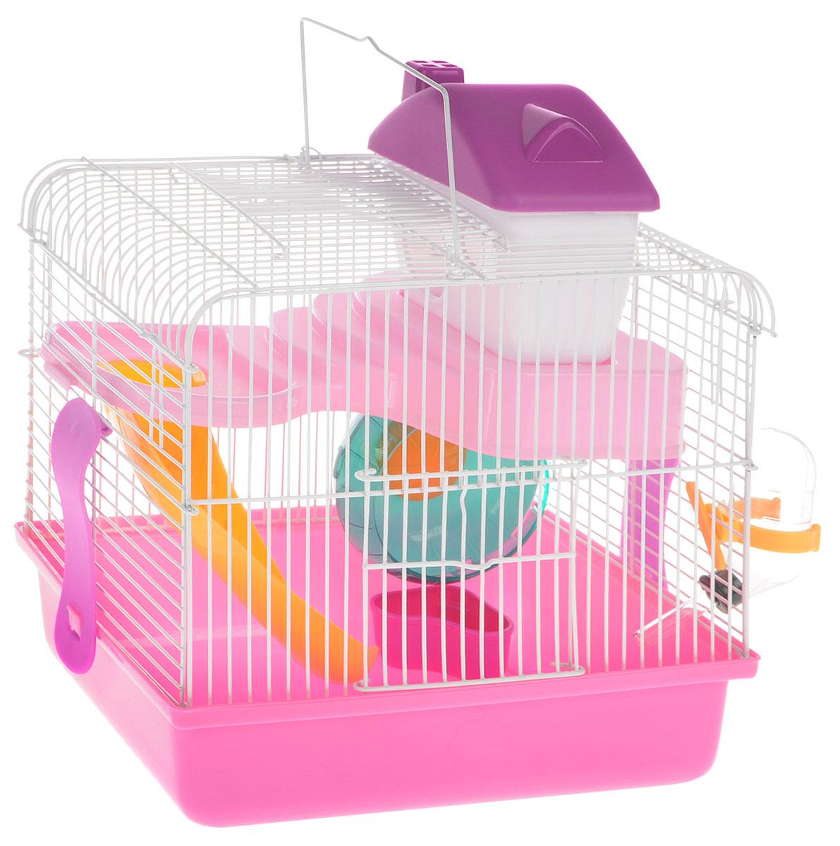 Клетка для грызунов Каскад, с оборудованием, 26 х 20 х 30 см55001609/розовыйКлетка Каскад, выполненная из пластика и окрашенного металла, прекрасно подходит для мелких грызунов. Изделие двухэтажное, оборудовано поилкой, сенником, пластиковым домиком и миской. Клетка имеет яркий поддон, удобна в использовании и легко чистится. Сверху имеется ручка для переноски, а сбоку удобная дверца. Такая клетка станет уединенным личным пространством и уютным домиком для маленького грызуна.