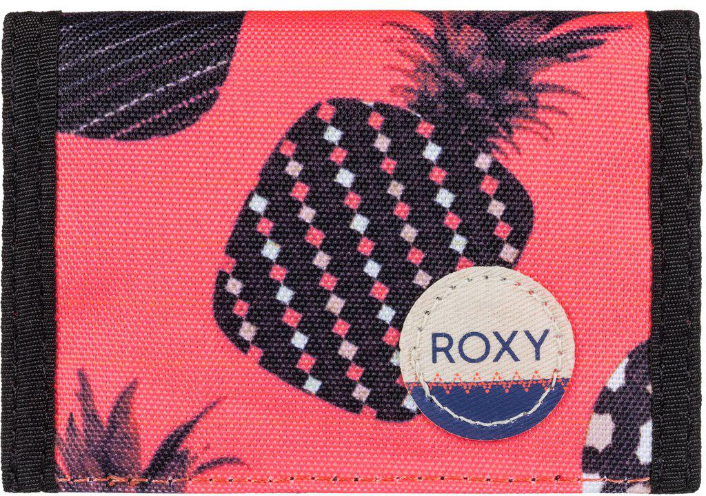 Кошелек женский Roxy Small Beach, цвет: оранжевый, синий. ERJAA03215-NKN6ERJAA03215-NKN6Женский кошелек от Roxy выполнен из полиэстера и оформлен оригинальным принтом. У модели складной дизайн, три секции, кармашек для мелочи на молнии, много отделений для карточек, отделение для банкнот. Застегивается на липучку Velcro, дополнен хлопчатобумажной нашивкой с логотипом.