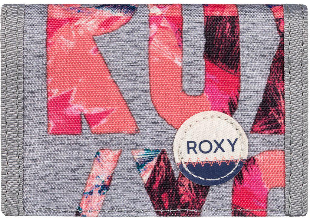 Кошелек женский Roxy Small Beach, цвет: серый, оранжевый. ERJAA03215-SGR6ERJAA03215-SGR6Женский кошелек от Roxy выполнен из полиэстера и оформлен оригинальным принтом. У модели складной дизайн, три секции, кармашек для мелочи на молнии, много отделений для карточек, отделение для банкнот. Застегивается на липучку Velcro, дополнен хлопчатобумажной нашивкой с логотипом.