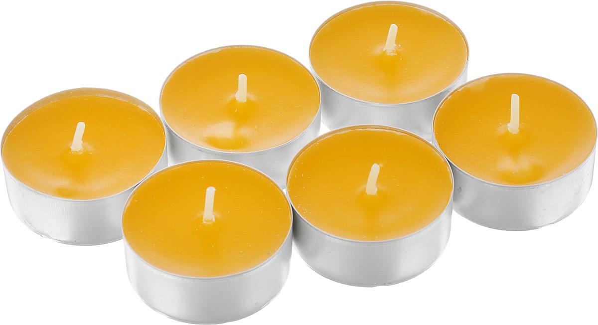 Набор свечей Омский cвечной завод Апельсин, ароматизированные, диаметр 3,8 см, 6 шт337446Набор Омский свечной завод Апельсин состоит из 6 круглых свечей с ароматом апельсина, изготовленных из парафина. Первичный парафин в составе свечей обеспечивает качество горения (выгорает полностью). При горении не трещат, не появляются искры. Такой набор украсит интерьер вашего дома или офиса и наполнит его атмосферу теплом и уютом. Примерное время горения: 3 часа. Диаметр свечи: 3,8 см. Высота: 1,5 см.