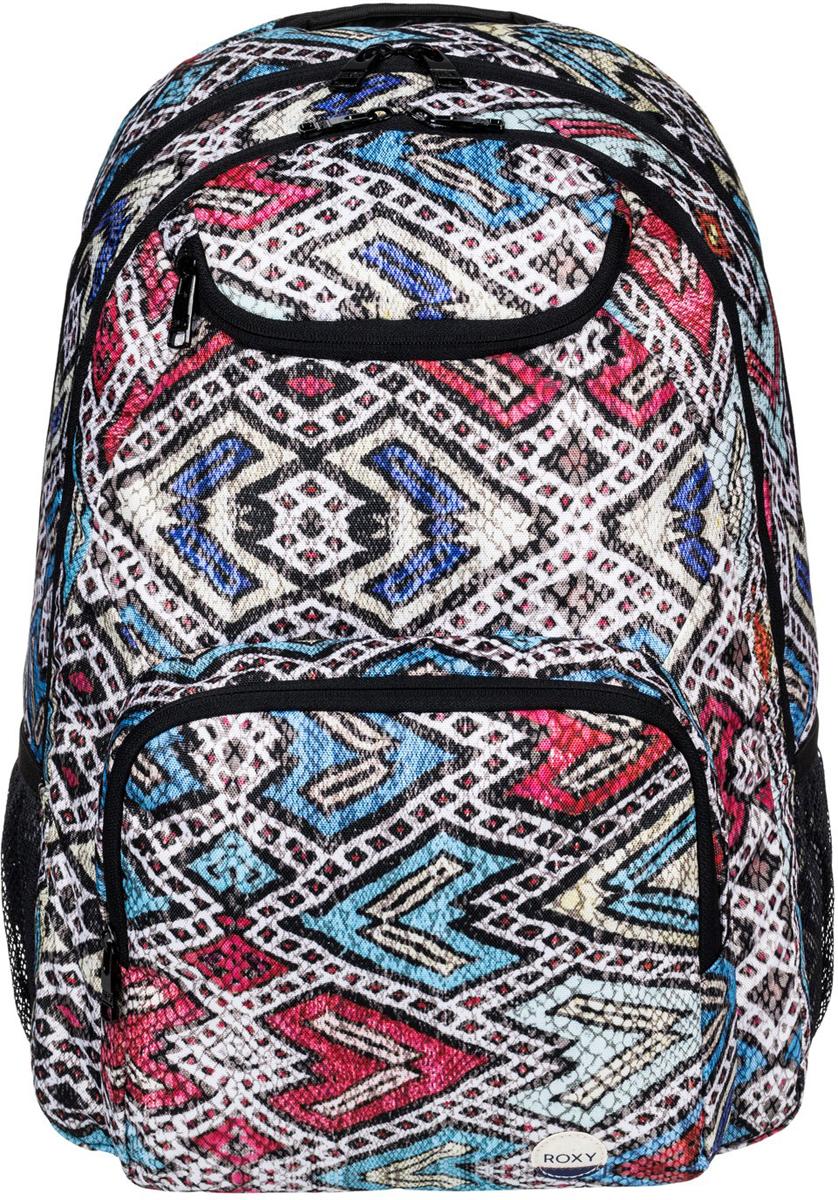 Рюкзак городской женский Roxy Shadow Swell, цвет: синий, красный, 24 л. ERJBP03400-BLA6ERJBP03400-BLA6