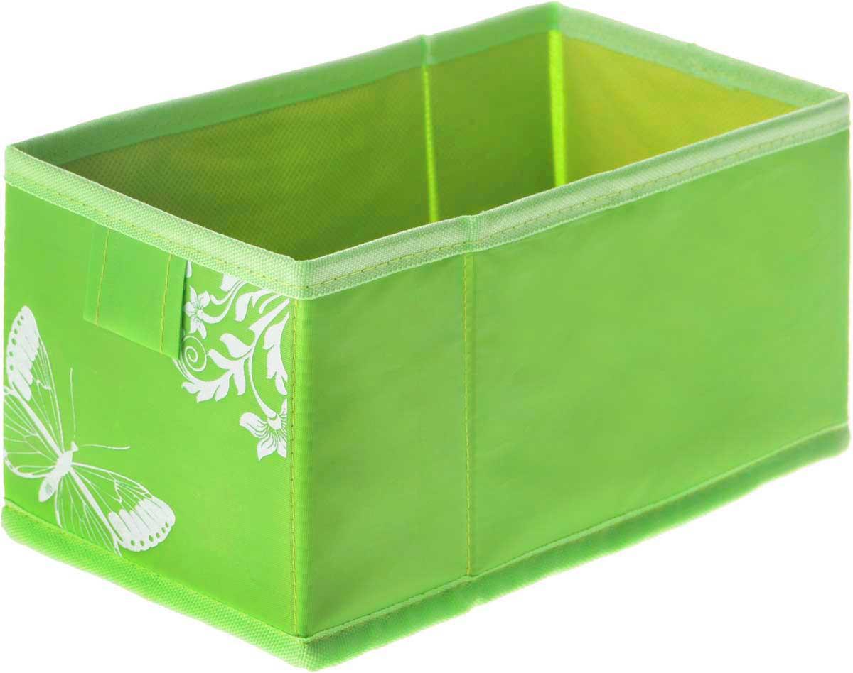Коробка для хранения Hausmann Butterfly, цвет: салатовый, 13 х 27 х 12,5 см4P-107-M4С_салатовыйКоробка для хранения Hausmann Butterfly поможет легко организовать пространство в шкафу или в гардеробе. Изделие выполнено из нетканого материала и полиэстера. Коробка держит форму благодаря жесткой вставке из картона, которая устанавливается на дно. Боковая поверхность оформлена красивым принтом с изображением бабочек. В такой коробке удобно хранить нижнее белье, ремни и различные аксессуары.