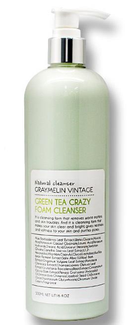 Graymelin, Очищающая пенка, Green Tea Crazy Foam Cleanser, 500 мл8809429953940Экстракты зеленого чая в составе средства обладает сильным антиоксидантным эффектом, экстракт алоэ улучшает цвет лица, успокаивает и увлажняет сухую кожу. Масло авокадо и масло жожоба питают. Благодаря натуральному составу пенка для умывания бережно ухаживает даже за самой чувствительной кожей. Густая упругая пена хорошо растворяет и бережно очищает кожу от различных загрязнений: остатки макияжа, омертвевшие клетки, излишнее кожное сало. Пенка для умывания смягчает и делает кожу чистой и сияющей.