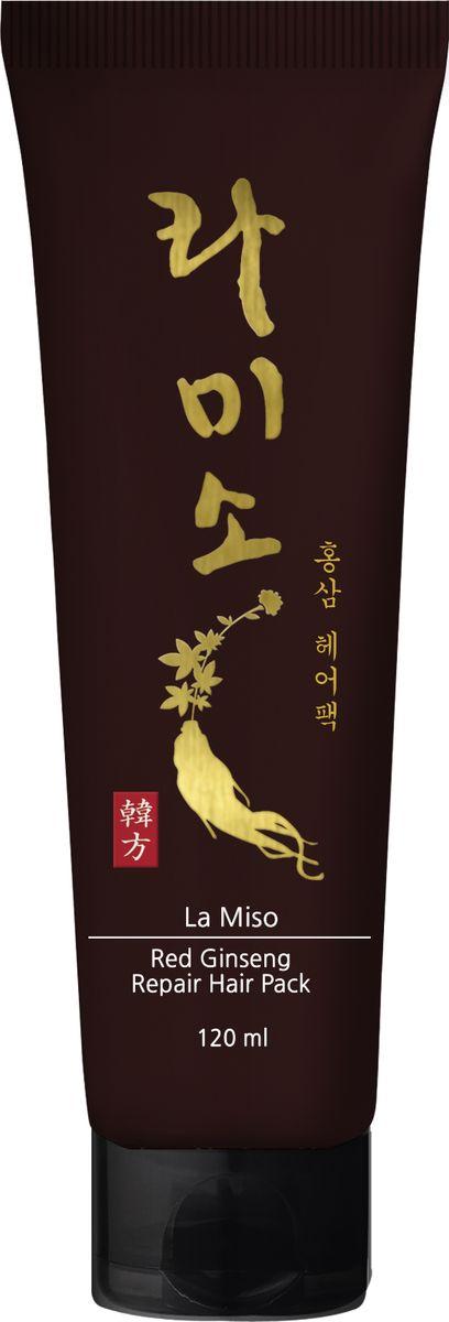 La Miso, Восстанавливающая маска для волос с экстрактом красного женьшеня, Red Ginseng Repair Hair Pack, 120 мл8809508720180Корень красного корейского женьшеня известен во всем мире благодаря сильному восстанавливающему и укрепляющему эффекту, который он оказывает на организм человека. Восстанавливающая маска для волос с экстрактом красного женьшеня интенсивно питает и увлажняет поврежденные волосы, укрепляя их изнутри. Применение маски возвращает блеск, здоровье и силу тусклым и безжизненным волосам.