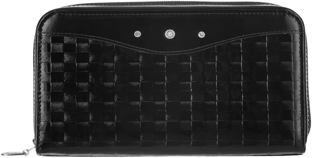 Портмоне женское Elisir Bottega black, цвет: черный. EL-LK269-PR0065-000EL-LK269-PR0065-000Женское портмоне Elisir выполнено из натуральной кожи с тиснением и оформлено блестящими кристаллами Swarovski. Портмоне закрывается на застежку-молнию и внутри содержит четыре отделения для купюр, карман на застежке-молнии для мелочи, двенадцать карманов для кредитных карт и два кармана для бумаг. В комплекте бархатный чехол для хранения. Портмоне упаковано в коробку с тиснением в виде логотипа Elisir.