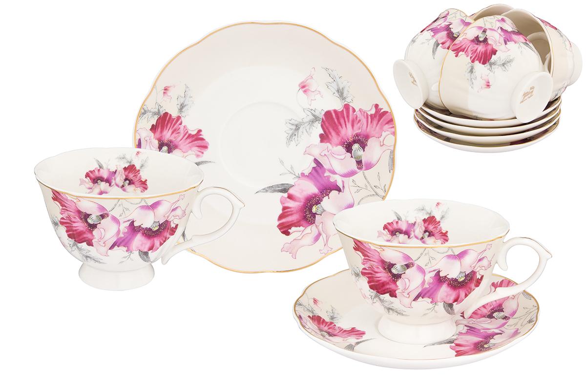 Набор чайный Elan Gallery Серебристый мак, 12 предметов740259Великолепный чайный набор на 6 персон станет шикарным подарком. В комплекте 6 чашек объемом 250 мл, 6 блюдец. Соберите всю коллекцию предметов сервировки Серебристый мак и Ваши гости будут в восторге! Изделие имеет подарочную упаковку, поэтому станет желанным подарком для Ваших близких!