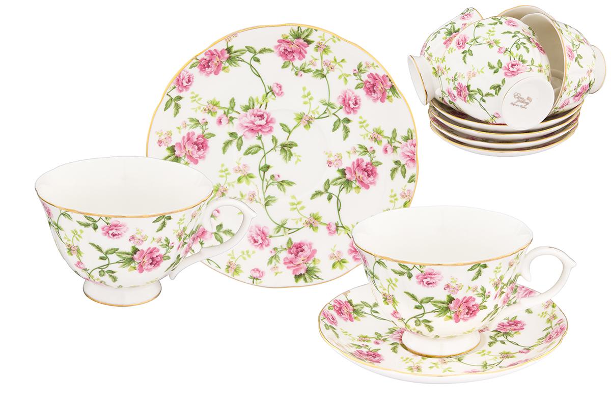 Набор чайный Elan Gallery Плетистая роза, 12 предметов740261Чайный набор Плетистая роза с изумительным цветочным декором на 12 персон украсит Ваше чаепитие. В комплекте 12 чашек объемом 250 мл, 12 блюдец.