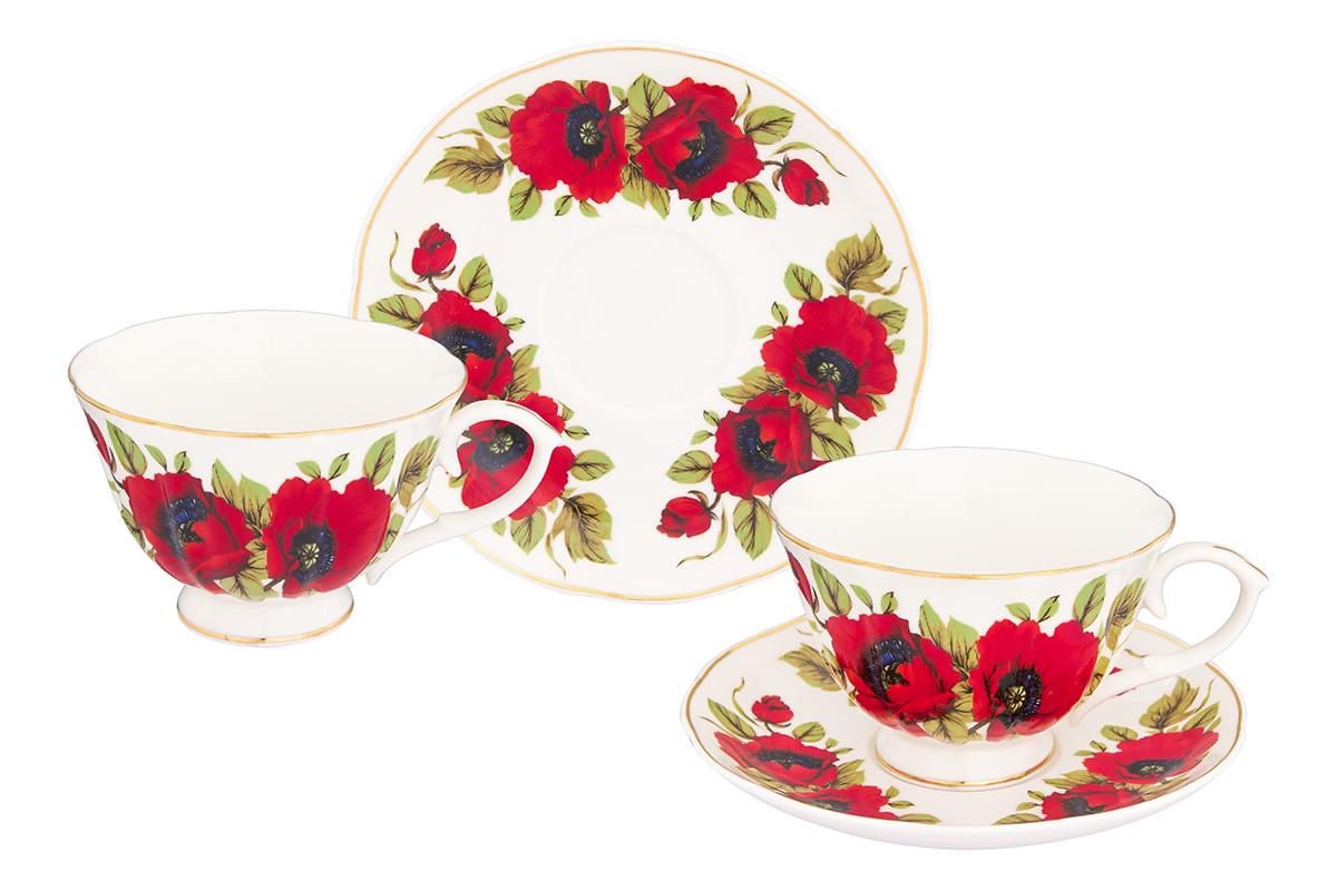 Набор чайный Elan Gallery Маки, 4 предмета740264Чайный набор Макис изумительным цветочным декором на 2 персоны украсит Ваше чаепитие. В комплекте чашка объемом 250 мл, блюдце, ложка. Изделие имеет подарочную упаковку, поэтому станет желанным подарком для Ваших близких!