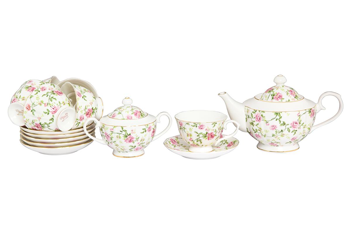 Набор чайный Elan Gallery Плетистая роза, 14 предметов740306Великолепный чайный набор Плетистая роза на 6 персон станет шикарным подарком. В комплекте 6 чашек объемом 250 мл, 6 блюдец, сахарница объемом 450 мл, чайник объемом 1100 мл. Изделие имеет подарочную упаковку, поэтому станет желанным подарком для Ваших близких!