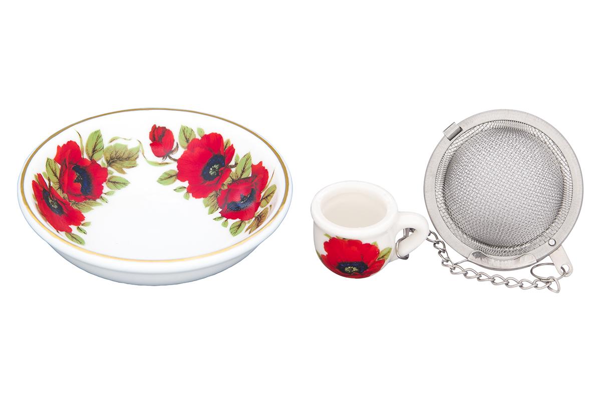 Набор для заваривания чая Elan Gallery Маки, 2 предмета740455Набор для заваривания чая из ситечка и подставки, с ярким рисунком Маки, придется по вкусу любой хозяйке. Приятный и полезный аксессуар на Вашей кухне. Дизайн наборов выверен учитывая все подробности. Все элементы тщательно выбраны и удачно подходят друг к другу. Модель состоит из материалов отличного качества красивой палитры. Этот набор марки Elan Gallery замечательно подойдут под ваш любимый наряд и покажут вас в выигрышной позиции и в театре и на вечеринке. Эта модель станет хорошей находкой для себя или презентом на день рождения. Великолепные наборы для чаепития Elan Gallery будут хорошим выбором для домашней коллекции. Размер подставки: 7,5 х 7,5 х 2 см. Объем: 40 мл.