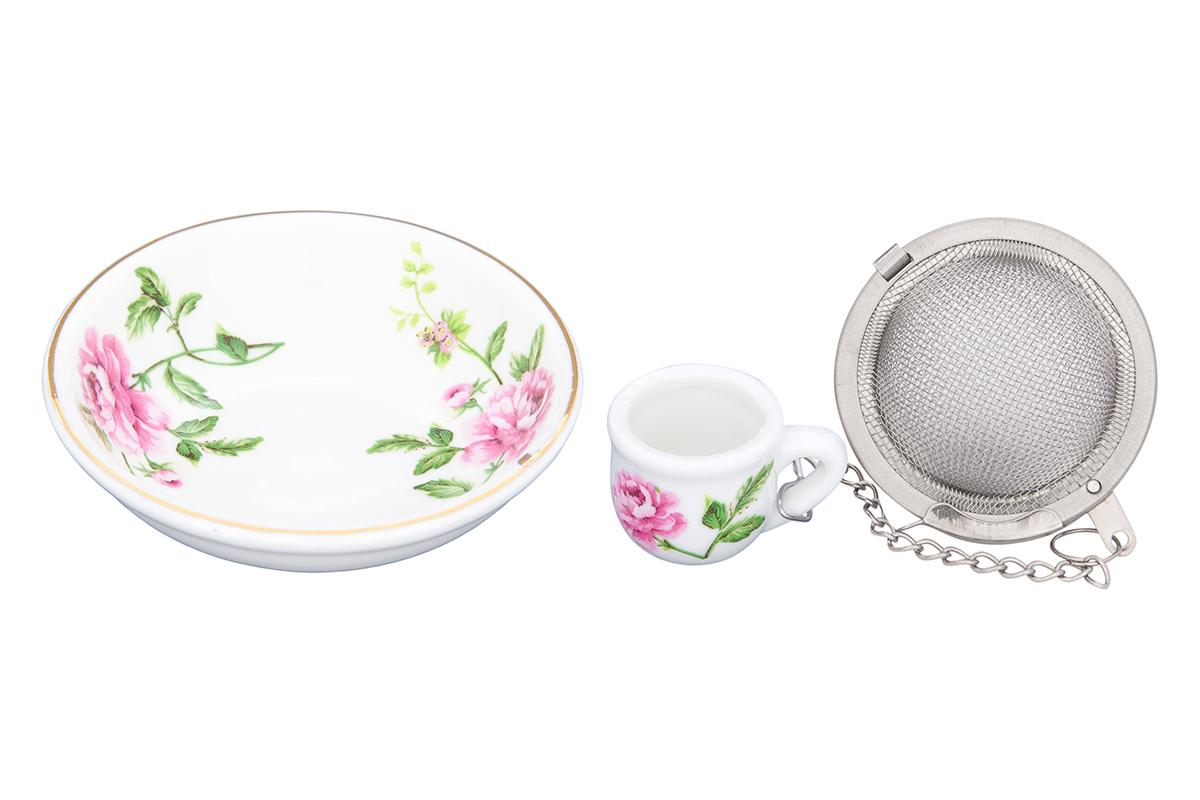 Набор для заваривания чая Elan Gallery Плетистая роза, 2 предмета740460Набор для заваривания чая из ситечка и подставки, с нежным рисунком Плетистая роза придется по вкусу любой хозяйке. Приятный и полезный аксессуар на Вашей кухне.