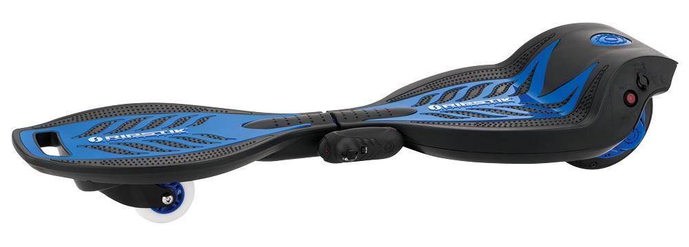 Электроскейтборд Razor RipStik Electric, цвет: синий021803Устали крутить бедрами на классическом рипстике? Встречайте - первый в мире электрический роллерсерф! Теперь можно кататься по городу, как на волнах. Электрическим рипстиком можно управлять привычным способом, а также регулировать скорость через пульт дистанционного управления, который уже идет в комплекте. Управление очень простое, справится и ребенок от 7-8 лет. Благодаря инновационной эксклюзивной технологии с мотор-колесом и литий-ионной батареей на 22V, электрический скейт способен развивать скорость до 16 км/час, и непрерывно передвигаться до 50 минут! При этом двигаться можно не только на электрической тяге, но и благодаря инерционной, механической силе, как на классическом рипстике. Теперь можно не просто кататься, передвигаясь по городу, парку, но и делать это максимально эффектно и необычно! От 8 лет Вес продукта 6,94 кг. Подходит детям и подросткам ростом от 100 до 180 см. Максимальная нагрузка 65 кг. Максимальная скорость 16 км/час Запас непрерывного хода до 50 минут...