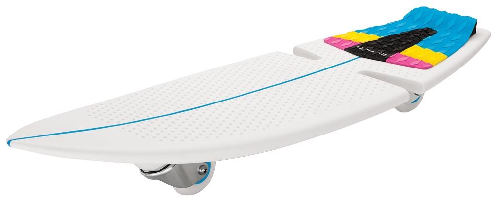 Роллерсерф Razor RipSurf, цвет: мультиколор051106#SurfWhereYouLive - именно такой хэштег ставят посвященные серферы там, где они живут и катаются по волнам. Запатентованный дизайн рипсерфа позволяет райдерам кататься по жесткому покрытию скейт-парка или дорожке в городском парке, словно по волнам, прям как настоящий серфер! Стиль рипстика RipSurf остался неизменен - те же два колеса, которые расположены под острым углом к земле; да и жесткая платформа для ног - дека, выполненная из высококачественного полипропилена: он очень крепкий и хорошо гнется. В качестве усиления сделаны специальные ребра жесткости. Серфи там, где ты живешь! От 7 лет Подходит под рост от 100 до 200 см. Вес рипсерфа 2,38 кг. Максимальная нагрузка 100 кг. Запатентованные технологии RipStik (технология кручения полипропиленовой основы) Легкий цельный армированный полимер промышленного класса Текстурированная поверхность под заднюю ногу, для лучшей устойчивости Наклонные уретановые колеса, вращающиеся на 360 градусов Общая длина деки 82 см., ширина деки 28 см....