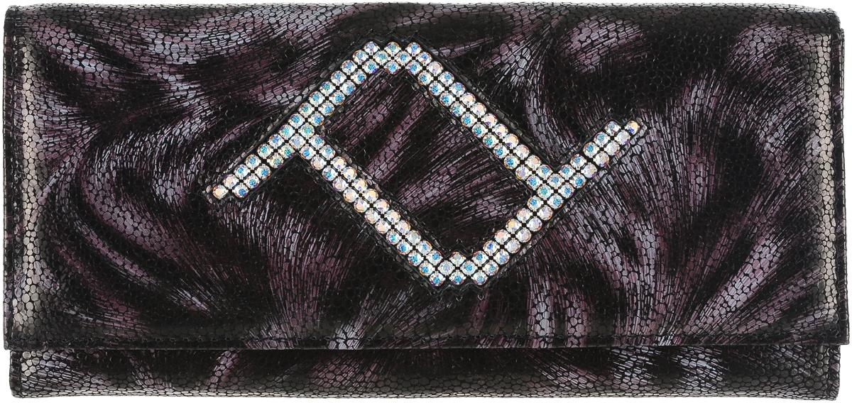 Кошелек женский Elisir France, цвет: темно-коричневый, сиреневый. EL-NK270-PR0032-000EL-NK270-PR0032-000Женский кошелек Elisir France выполнен из натуральной кожи и декорирован кристаллами Swarovski. Закрывается модель при помощи клапана на металлической кнопке. На задней стенке скрытый карман. Изделие содержит три отделения для купюр, два скрытых кармана, глубокий карман на передней стенке, отделение для мелочи на молнии, восемь карманов для кредитных карт.