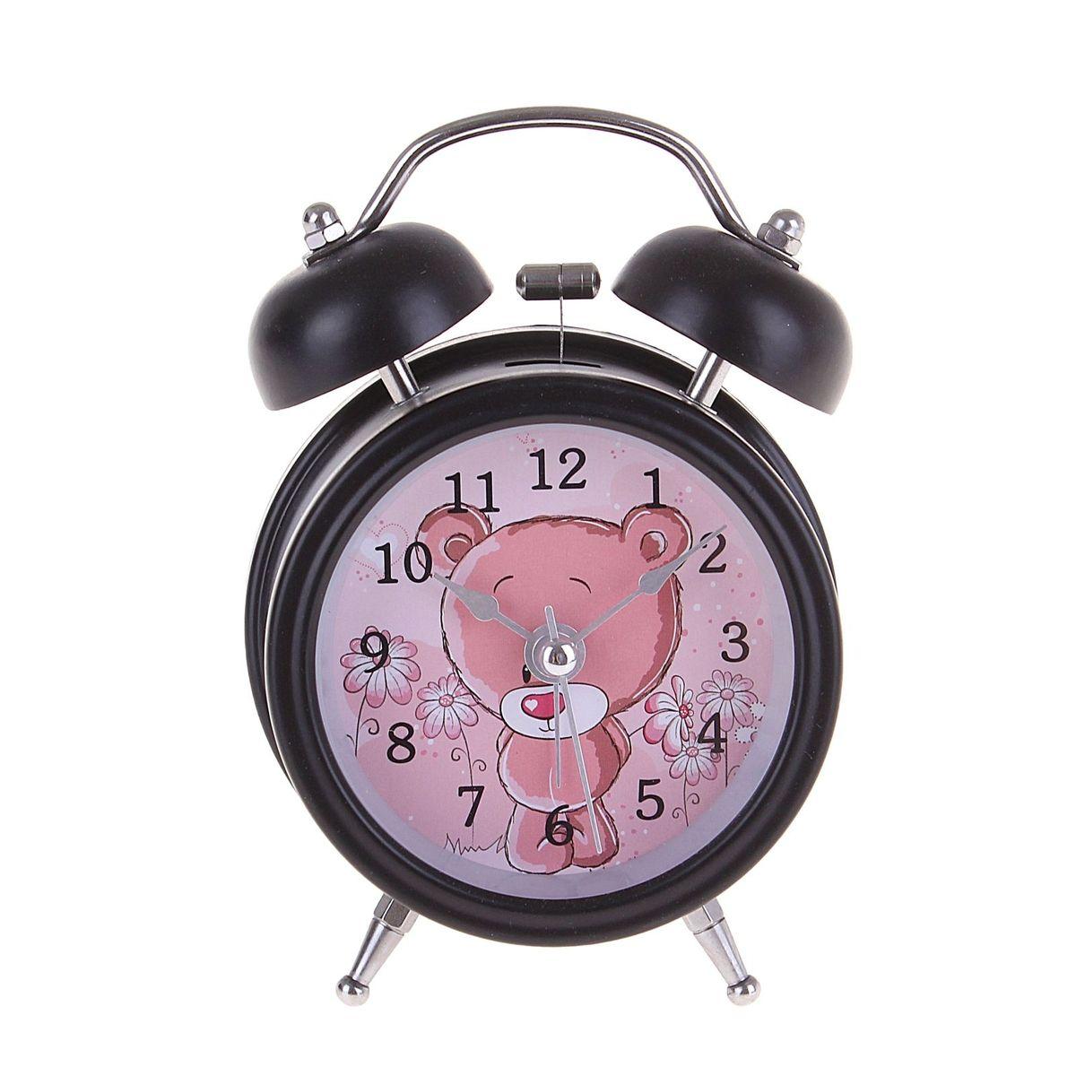 Будильник d=8см 2 звоночка на циферблате Мишка-стесняшка, цвет: черный. 127199127199Металл, стекло, пластик