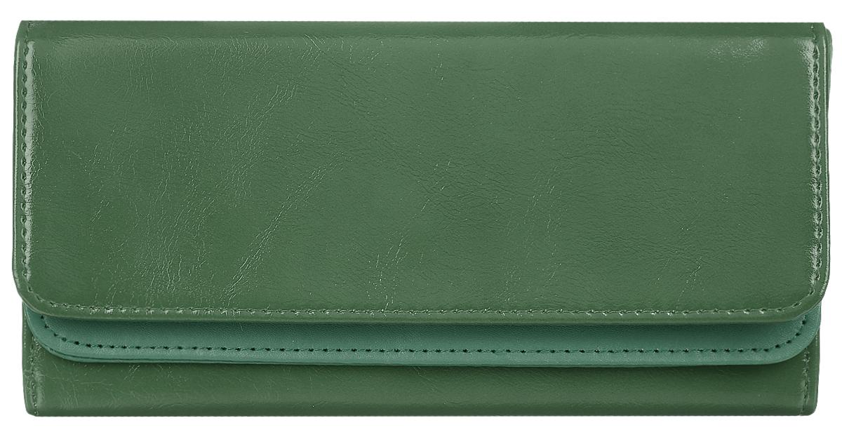 Кошелек женский Leighton, цвет: темно-зеленый. 725725 greenСтильный женский кошелек Leighton выполнен из искусственной кожи и закрывается на кнопку. Подкладка кошелька изготовлена из полиэстера. Изделие содержит три отделения для купюр, один потайной карман, карман для мелочи на молнии, двенадцать карманов для пластиковых карт.