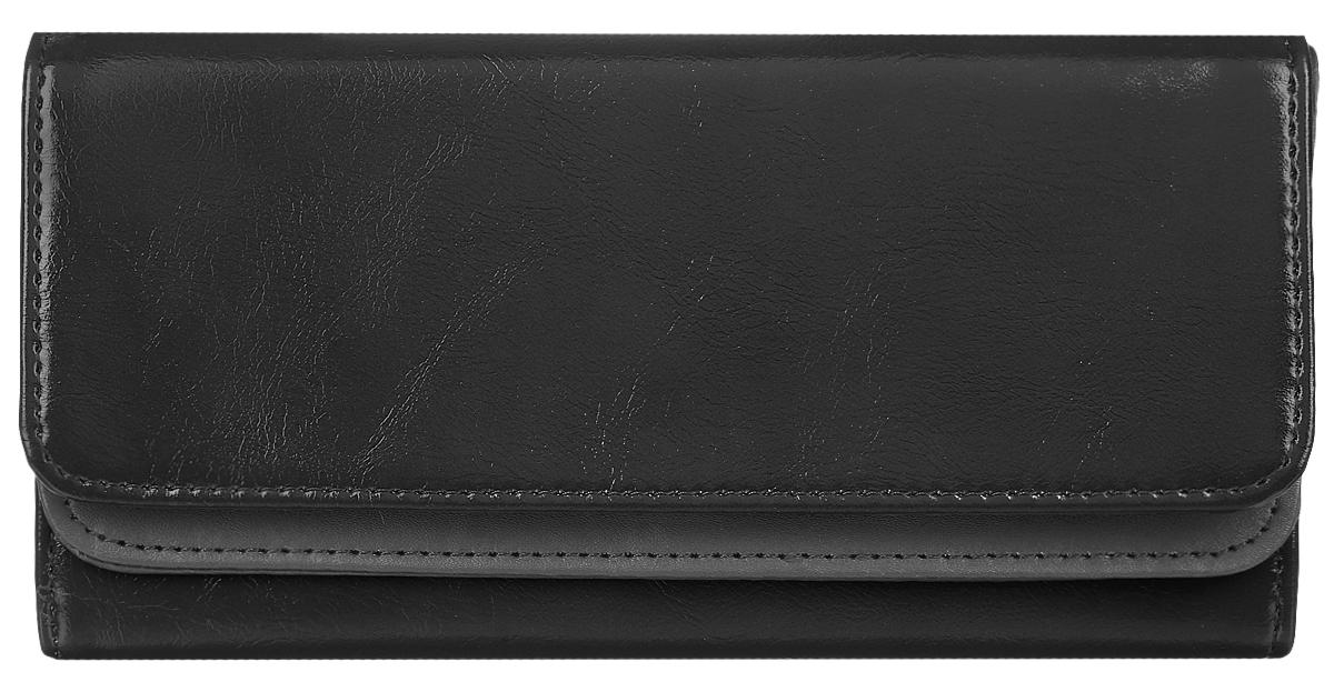Кошелек женский Leighton, цвет: черный. 725725 blackСтильный женский кошелек Leighton выполнен из искусственной кожи и закрывается на кнопку. Подкладка кошелька изготовлена из полиэстера. Изделие содержит три отделения для купюр, один потайной карман, карман для мелочи на молнии, двенадцать карманов для пластиковых карточек.