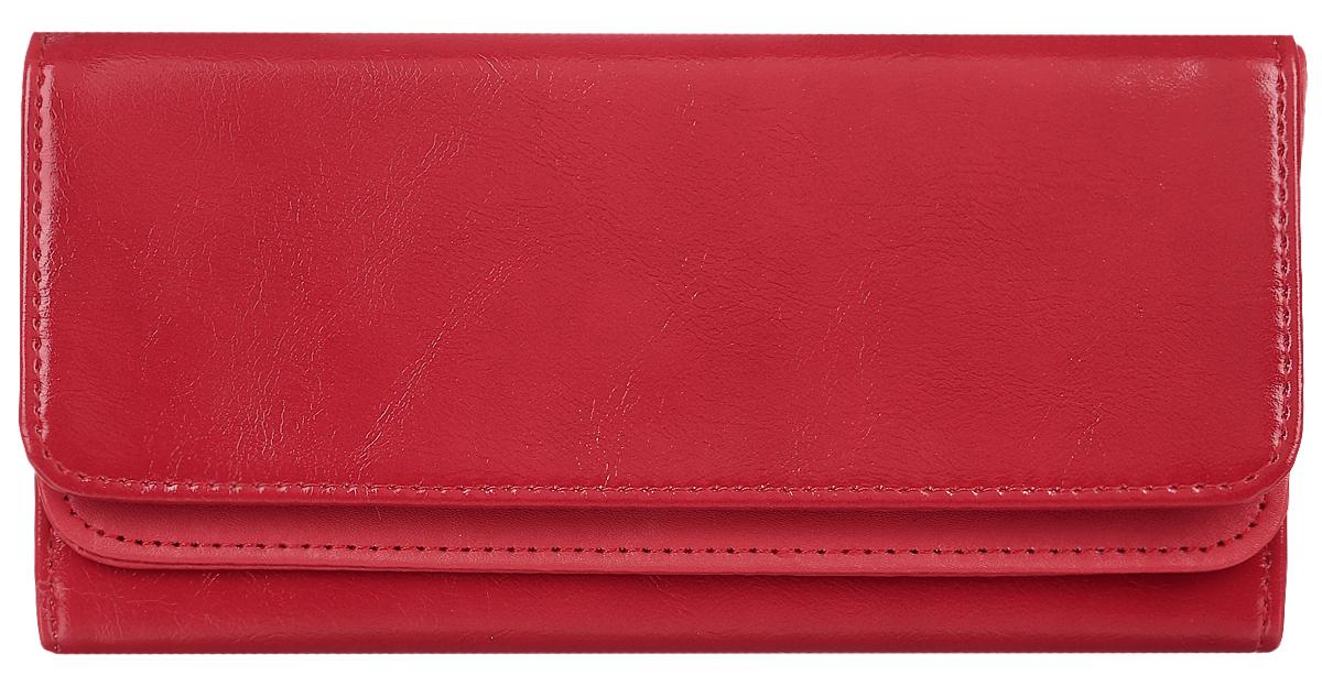 Кошелек женский Leighton, цвет: красный. 725725 redСтильный женский кошелек Leighton выполнен из искусственной кожи и закрывается на кнопку. Подкладка кошелька изготовлена из полиэстера. Изделие содержит три отделения для купюр, один потайной карман, карман для мелочи на молнии, двенадцать карманов для пластиковых карточек.
