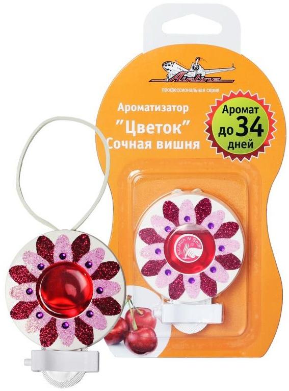 Ароматизатор автомобильный Airline Цветок, на дефлектор, сочная вишняAF-D02-SCАроматизатор Airline Цветок для автомобиля способен не только ликвидировать запахи, но и играть роль стильного и современного аксессуара. Ароматизатор розово-красного цвета с яркими блестками на корпусе имеет форму цветка с гелевым наполнителем в центре корпуса изделия. Ароматизатор насыщает салон чарующим запахом сочной вишни, который придется по нраву любителям сладких оттенков ароматов. Аромат до 34 дней.